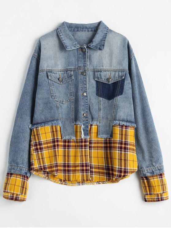 womens Asymmetry Plaid Patchwork Jean Jacket - BLUE GRAY L