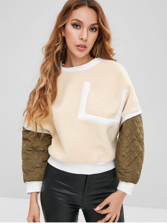 trendy Patchwork Fuzzy Sweatshirt - CORNSILK S