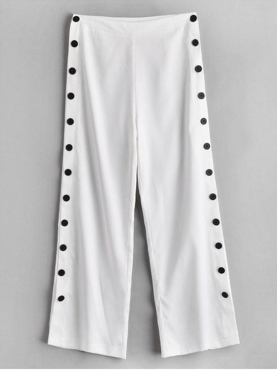 ZAFUL Pantalon à Jambe Large avec Bouton Latéral - Blanc M