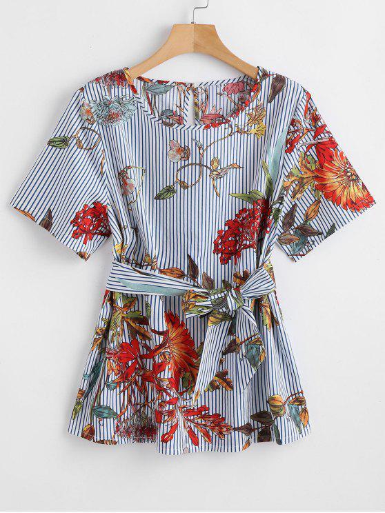 women ZAFUL Belted Striped Floral Blouse - MULTI L