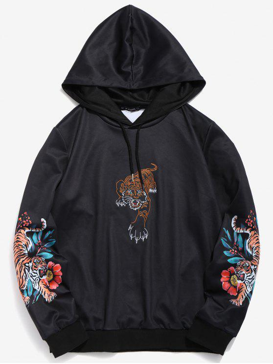 e6aa7f16cd3 24% OFF] 2019 ZAFUL Embroidered Tiger Sleeve Print Hoodie In BLACK ...