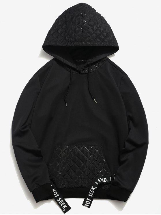 womens ZAFUL Square Patchwork Striped Hoodie - BLACK S