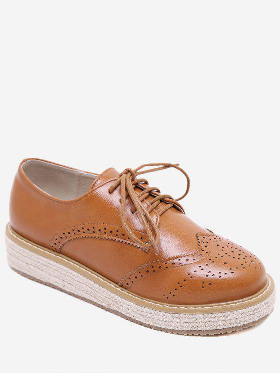 women PU Leather Espadrilles Wingtip Sneakers - LIGHT BROWN EU 37