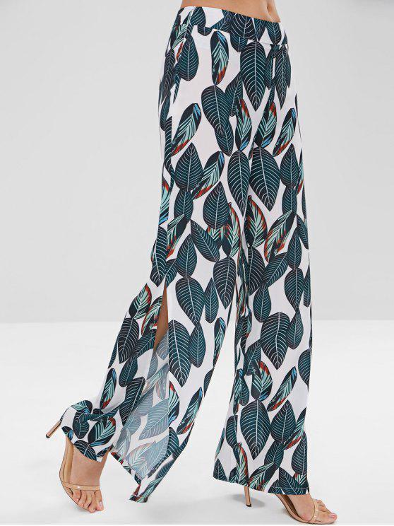 Pantalon Palazzo Imprimé Jambe Large à Taille Haute - Vert profond M