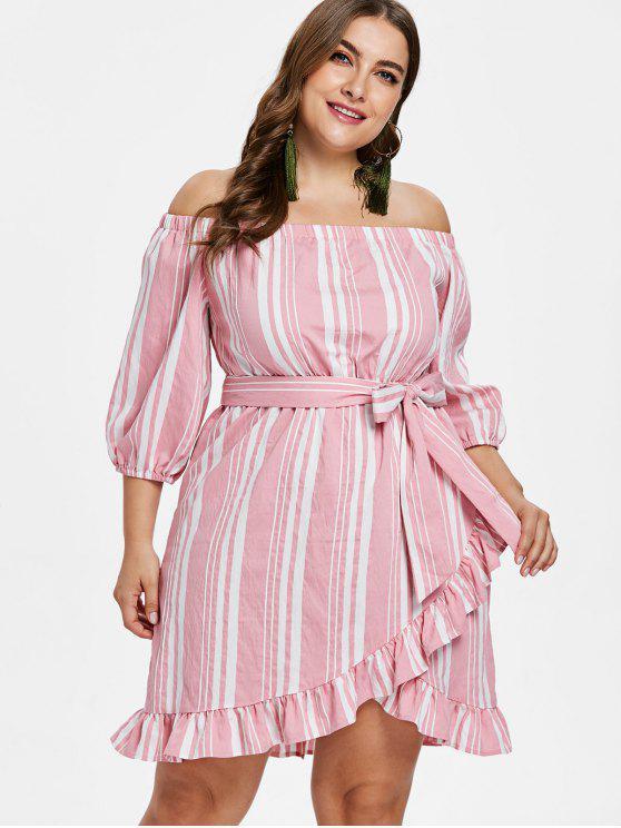 women's ZAFUL Plus Size Striped Belted Dress - PINK 1X