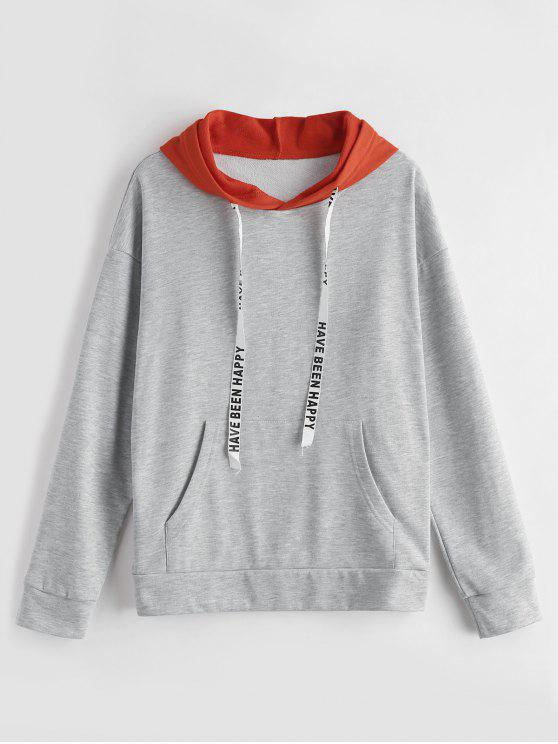 ladies ZAFUL Two Tone Graphic Drawstring Hoodie - GRAY CLOUD ONE SIZE