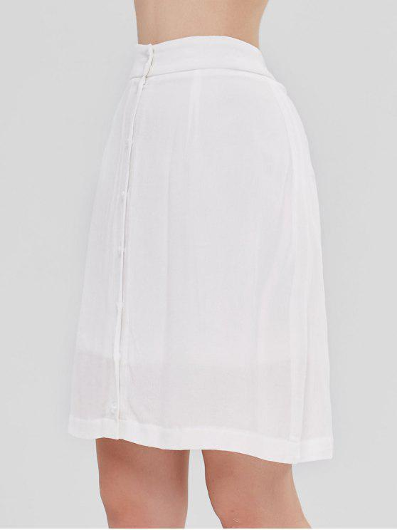 affordable ZAFUL Faux Pearl Button Up Skirt - WHITE M