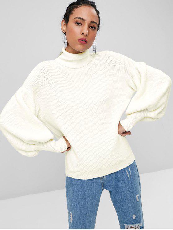 Laterne Ärmel Rollkragen Pullover - Weiß Eine Größe