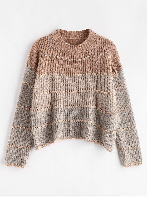 women Cropped Chunky Knit Sweater - MULTI ONE SIZE