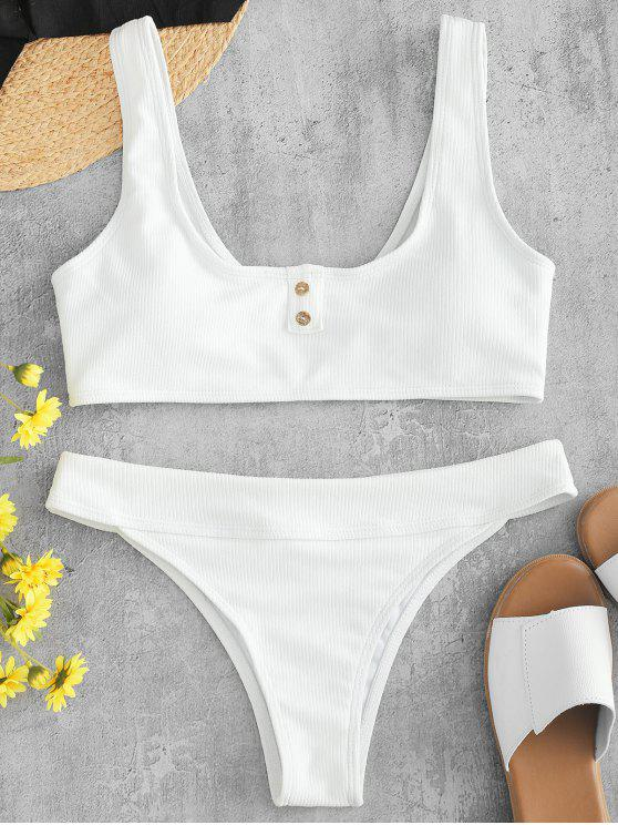 womens ZAFUL Ribbed Button Embellished Bikini Set - WHITE L