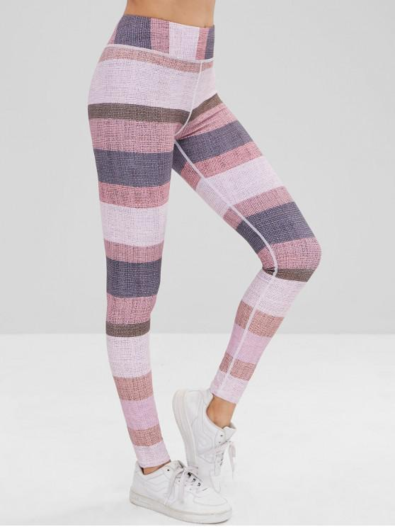 lady High Waisted Color Block Leggings - MULTI L
