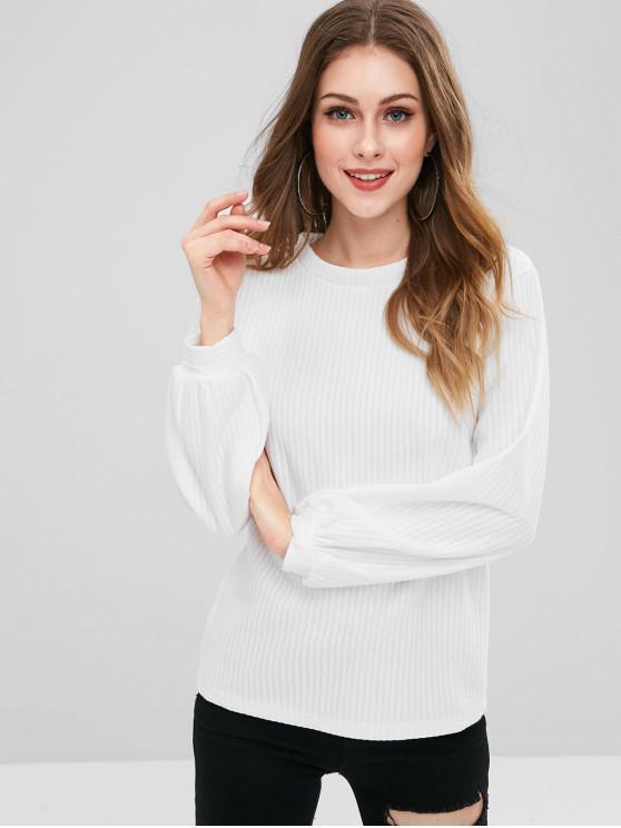 trendy Lantern Sleeve Ribbed Sweatshirt - WHITE M