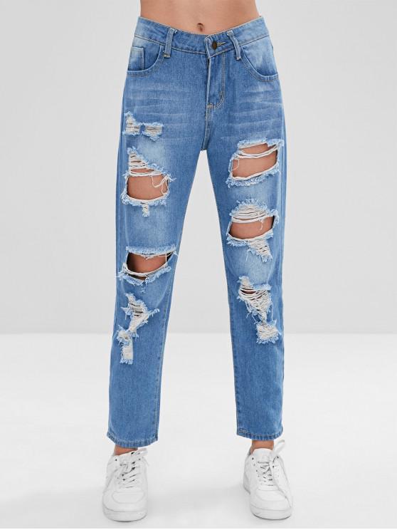 Ripped Boyfriend Jeans - Azul M