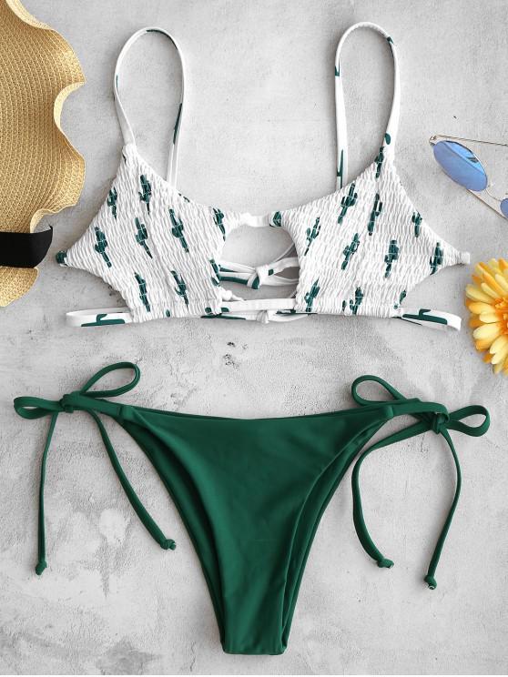 women ZAFUL Cactus Print Smocked String Bikini Set - PINE GREEN S