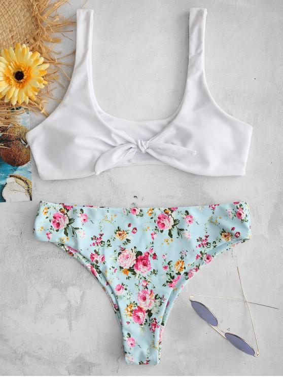 Bikini Floreale Annodato Di ZAFUL - Bianco S