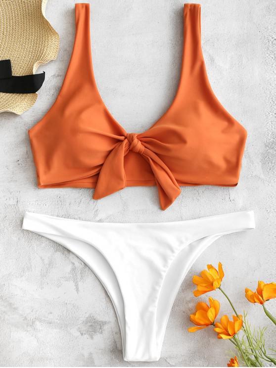 ZAFUL Knot Tank Bikini Set - Marrón Claro S