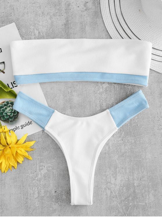 Conjunto Acanalado de Bikini Bandeau de Canal ZAFUL - Blanco S