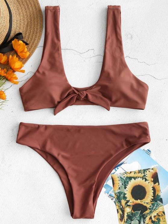 outfits ZAFUL Knot Padded Bikini Set - ROSY FINCH M