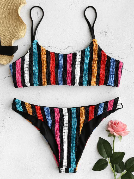 trendy ZAFUL Colorful Striped Smocked Bikini Set - MULTI S