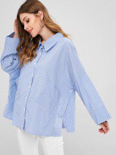 Oversize Stripes Shirt - Sky Blue