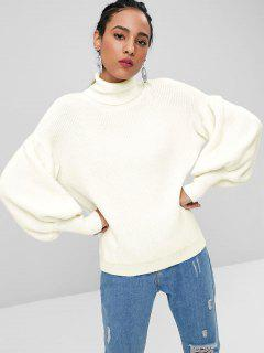 Lantern Sleeve Turtleneck Sweater - White