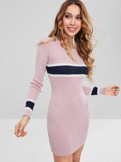 Stripes Panel Sweater Mini Dress - Light Pink