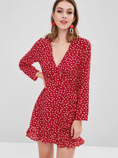 Vestido De Lunares Con Volantes Y Dobladillo - Rojo S