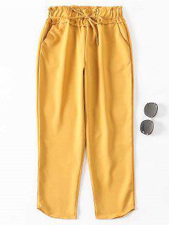 Pantalones De Cintura Con Volantes - Marrón Dorado S