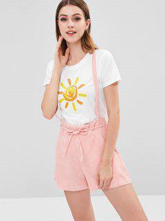 Corduroy Overall Shorts - Pink Bubblegum M