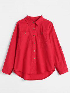 Roll Tab Sleeve Shirt - Red M