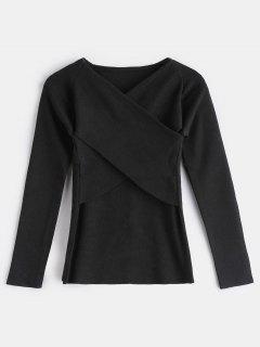 Surplice V Neck Slim Sweater - Black