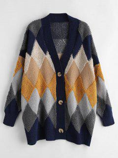 Buttons Argyle Cardigan - Multi-a
