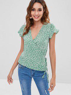 Blusa Con Volantes Y Flores - Azul Verde L