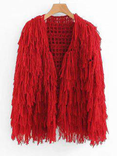 Fringe Open Knit Chunky Cardigan - Red