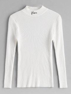 High Neck Ribbed Slim Sweater - White