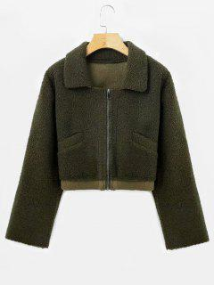 Suede Lining Faux Shearling Jacket - Army Green S