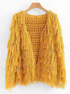 Fringe Open Knit Chunky Cardigan - Sun Yellow