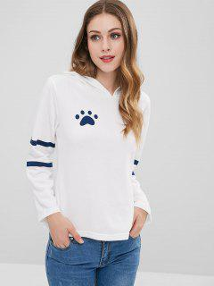 Footprint Cat Stripes Panel Hoodie - White M