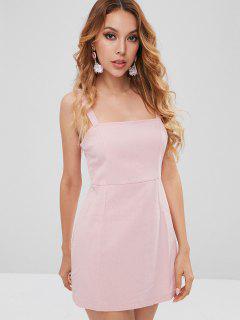 Plain Smocked Mini Dress - Light Pink S