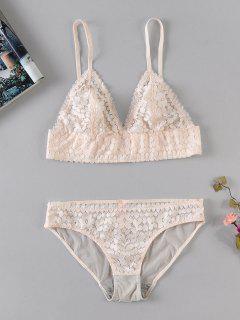 Floral Sheer Lace Bralette And Panty Lingerie Set - Apricot L