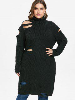 ZAFUL Plus Size Cut Out Turtleneck Sweater - Black 4x