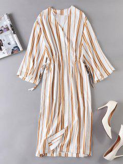 Waist Drawstring Striped Dress - Multi L