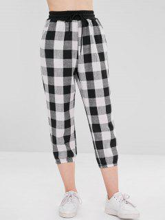 Plaid Drawstring Jogger Pants - Multi