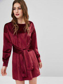 Velvet Long Sleeve Tied Shift Dress - Red Wine M