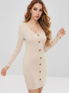 Buttoned Ribbed Mini Dress - Champagne M
