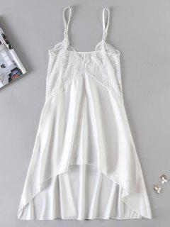 Sheer Lace Panel Chemise Lingerie Dress - White 2xl