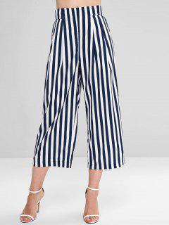 High Waisted Stripes Wide Leg Pants - Midnight Blue M
