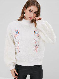 Embroidered Fuzzy Sweatshirt - White