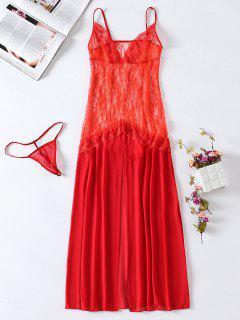 Lace Slip Mesh Sheer Lingerie Dress - Red M