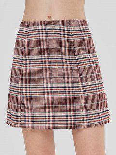 ZAFUL Plaid Mini A Line Skirt - Multi S